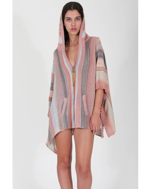 Goddis Diego Striped Hooded Poncho In Madrid In Pink