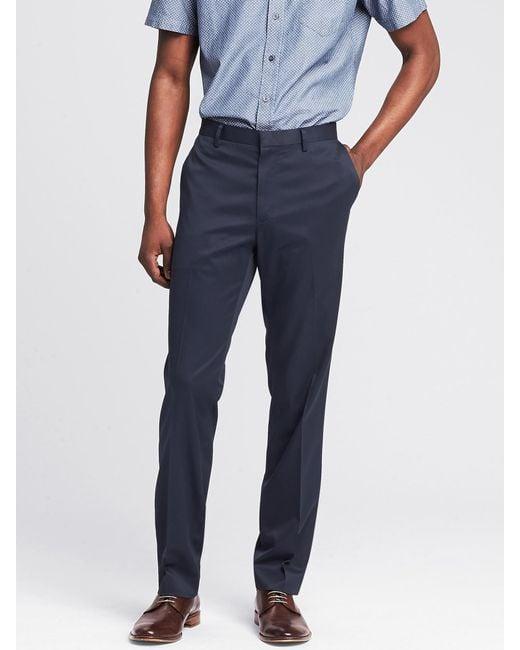 Banana Republic | Blue Slim Non-iron Cotton Pant for Men | Lyst
