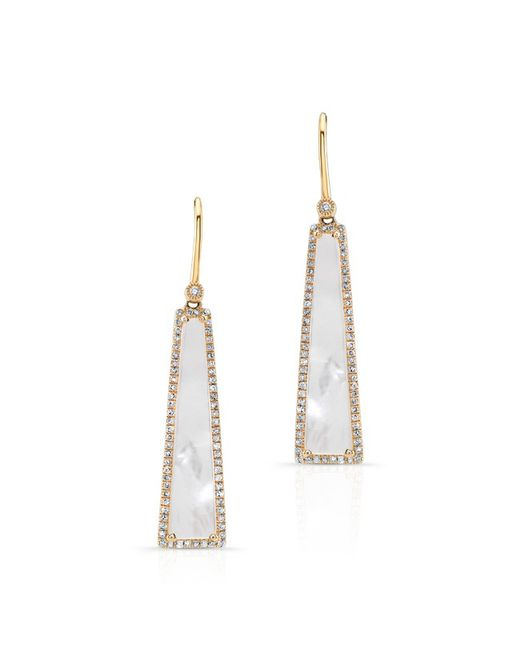 Anne Sisteron | Metallic 14kt Yellow Gold Mother Of Pearl Diamond Hampton Earrings | Lyst