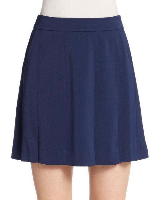 vince pleated mini skirt in blue blue marine lyst