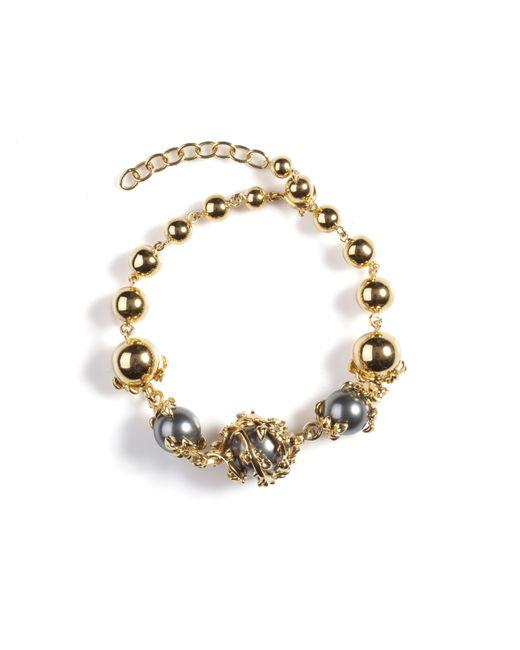 Kasun | Metallic Orb And Three Pearls Bracelet | Lyst