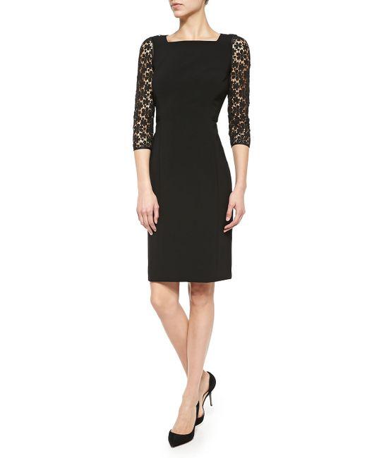 Lafayette 148 New York | Black Kriya Lace-sleeve Sheath Dress | Lyst