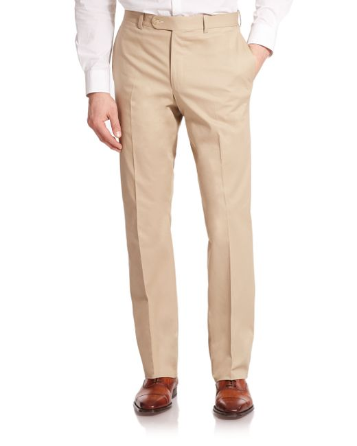 Saks Fifth Avenue | Natural Stretch Cotton Dress Pants for Men | Lyst