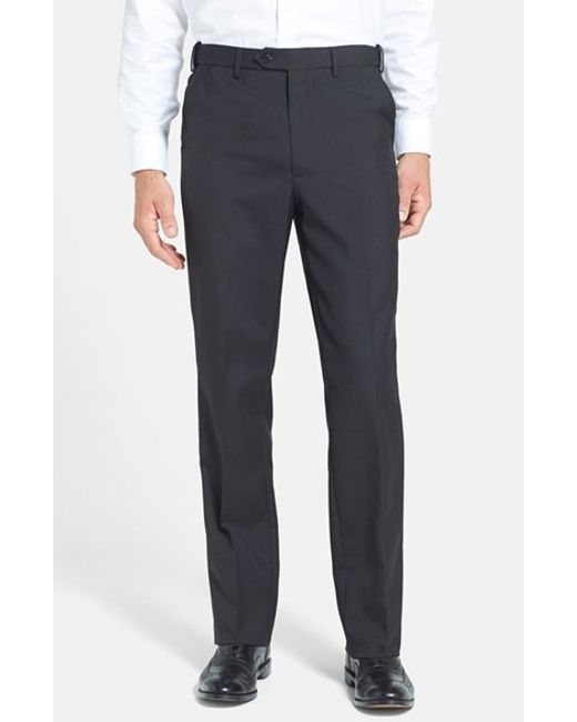Berle   Black Self Sizer Waist Tropical Weight Flat Front Trousers for Men   Lyst