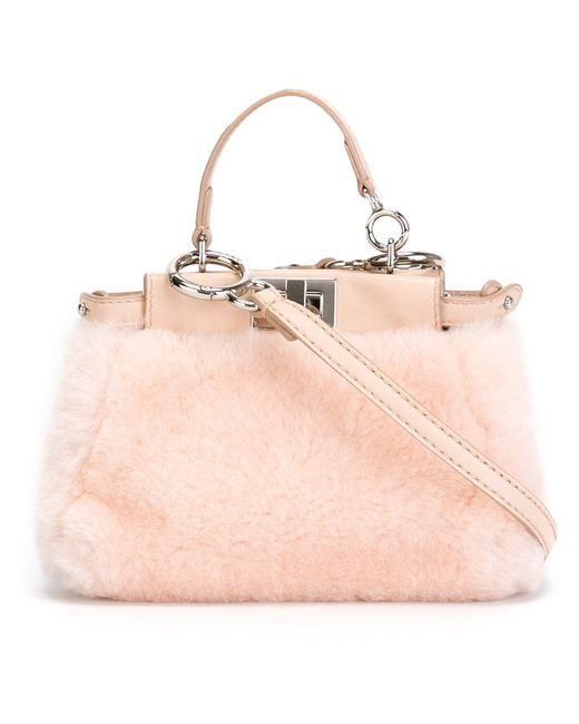 Fendi | Pink Micro Peekaboo Shearling Bag | Lyst