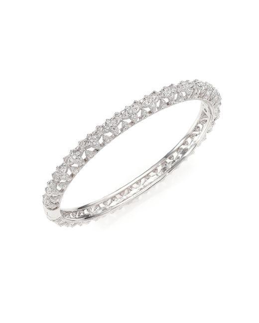 Adriana Orsini | Metallic Pave Crystal Floral Bangle Bracelet | Lyst