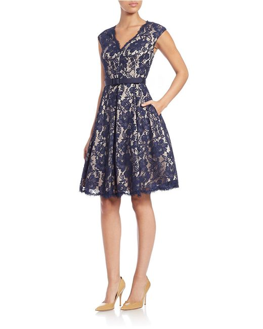 Eliza J Petite Floral Lace Fit And Flare Dress In Blue