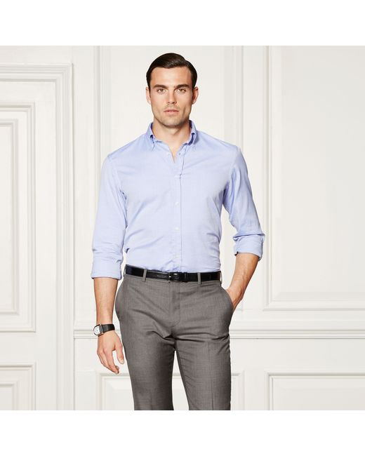 Ralph Lauren Purple Label | Blue Cotton Oxford Shirt for Men | Lyst