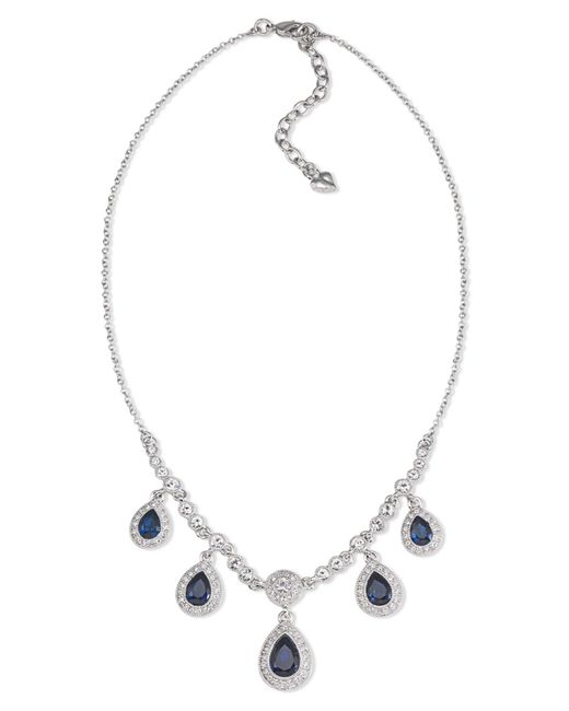 Carolee | Gray Silver-tone Blue Stone Pear Drop Frontal Necklace | Lyst