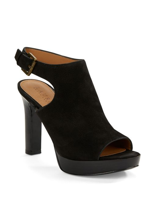 Lauren by Ralph Lauren | Black Seleste Leather Sandals | Lyst