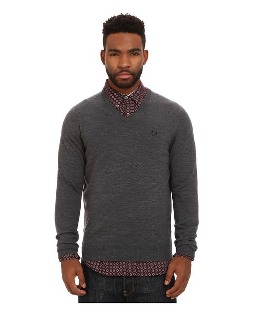 Fred Perry | Gray Classic V-neck Sweater for Men | Lyst