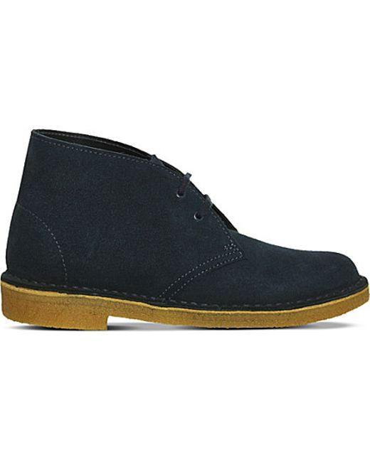 clarks suede desert boots in blue navy suede