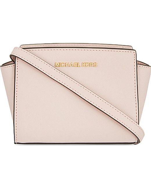 MICHAEL Michael Kors | Natural Selma Mini Saffiano Leather Messenger Bag | Lyst