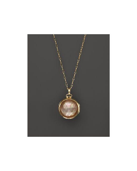 "Monica Rich Kosann   Metallic 18k Yellow Gold Dual Side Stone Crystal And Cognac Doublet Locket Necklace, 30""   Lyst"