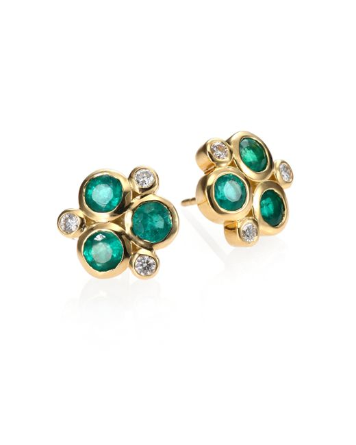 Temple St. Clair | Green Classic Color Emerald, Diamond & 18k Yellow Gold Trio Earrings | Lyst