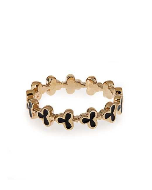 Alison Lou | Black Enamel & Yellow-gold Club Ring | Lyst