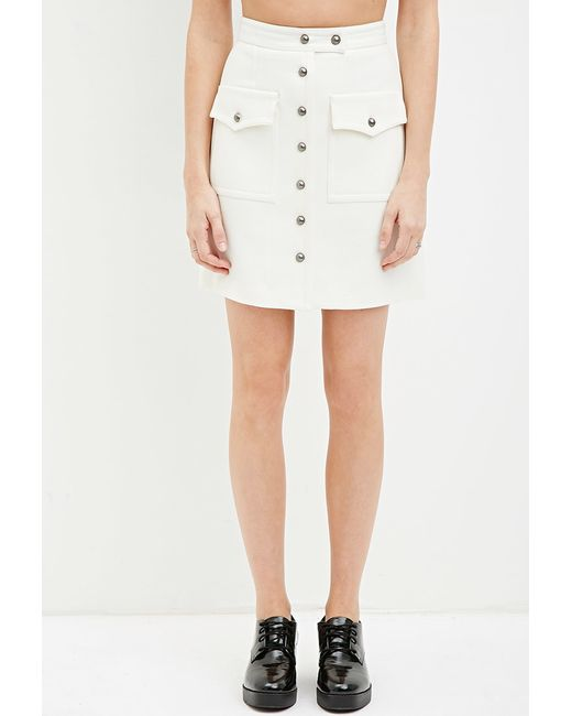 Forever 21   Natural Buttoned Two-pocket Skirt   Lyst