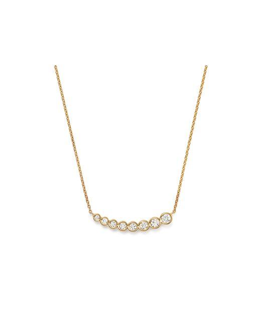 "KC Designs | Metallic Diamond Graduating Bezel Pendant Necklace In 14k Yellow Gold, 16"" | Lyst"