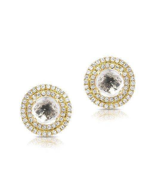 Anne Sisteron Metallic 14kt Yellow Gold White Topaz Diamond Sonrisa Stud Earrings Lyst