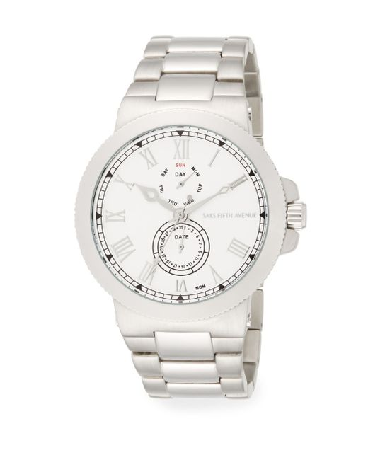 Saks Fifth Avenue | Metallic Stainless Steel Coin-edge Multi-function Watch | Lyst