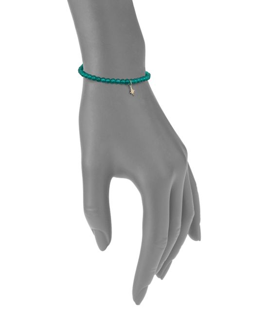 Sydney Evan | Diamond, Green Onyx & 14k Yellow Gold Starburst Beaded Stretch Bracelet | Lyst