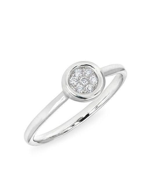 Anne Sisteron - Metallic 14kt White Gold Pave Diamond Disc Ring - Lyst