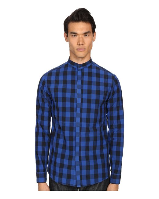 Balmain plaid button up shirt in blue for men royal blue for Royals button up shirt