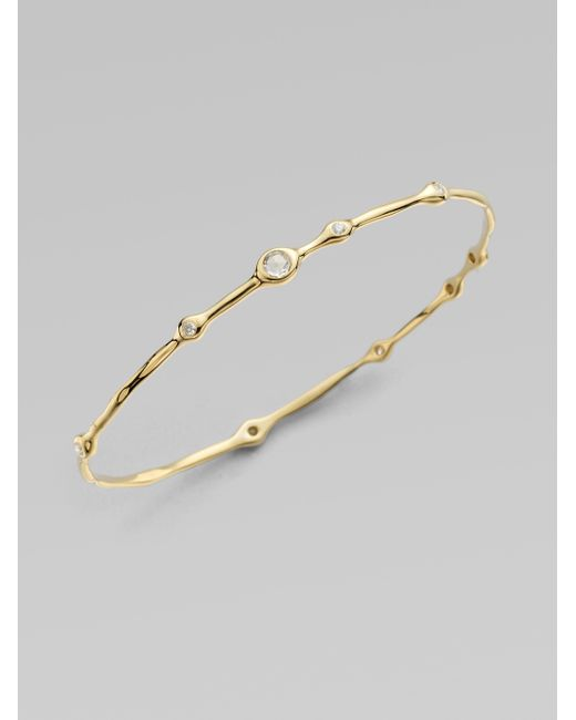 Ippolita | Metallic Multi Diamond 18k Yellow Gold Bangle Bracelet | Lyst