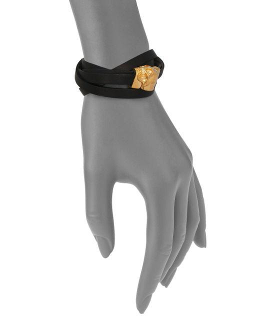 Alexander McQueen | Black Leather Bicolor Double-wrap Magnetic Skull Bracelet/goldtone | Lyst