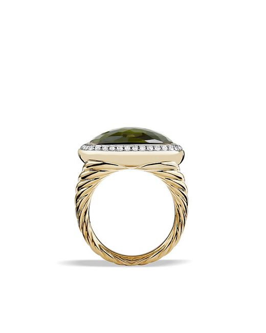 David Yurman | Albion Ring With Green Orchid And Diamonds In 18k Gold | Lyst