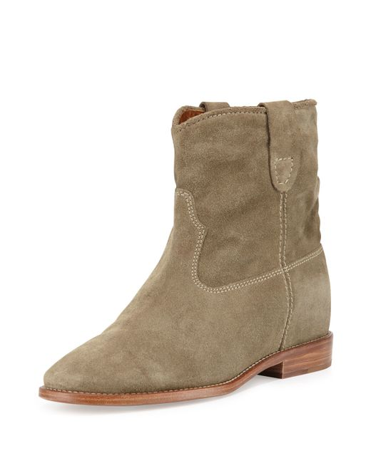 isabel marant crisi suede western boots in brown taupe lyst. Black Bedroom Furniture Sets. Home Design Ideas