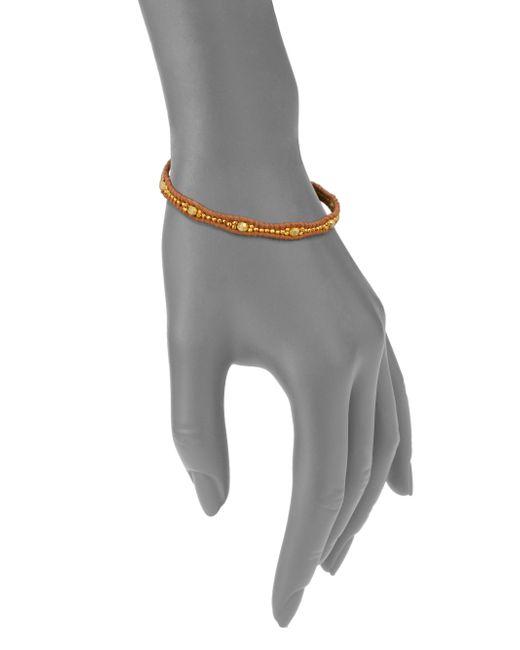 Chan Luu | Metallic Beaded Leather Wrap Bracelet | Lyst