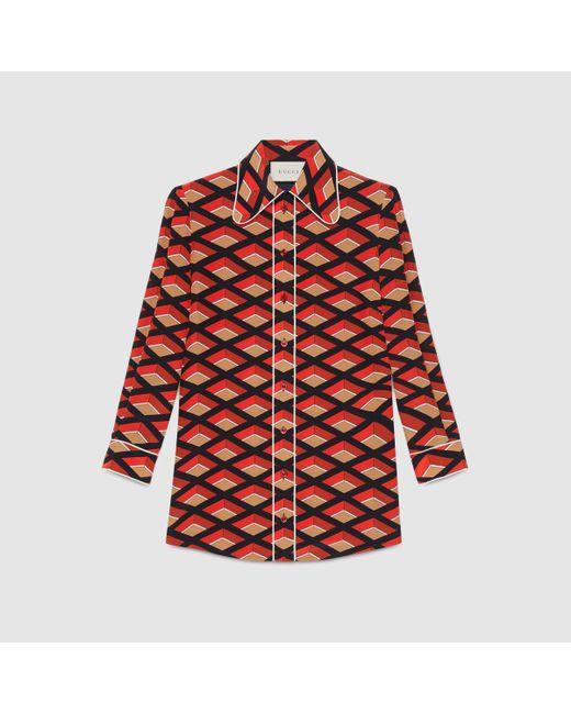 Gucci Rhombus Print Silk Shirt - 43.1KB