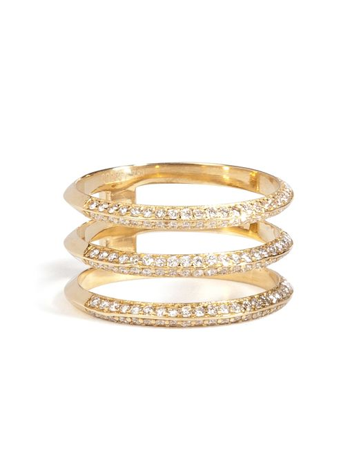 Ileana Makri | 18kt Yellow Gold Triple Disc Ring With White Diamonds | Lyst