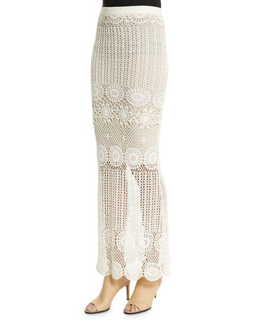 griselda crochet maxi skirt in white