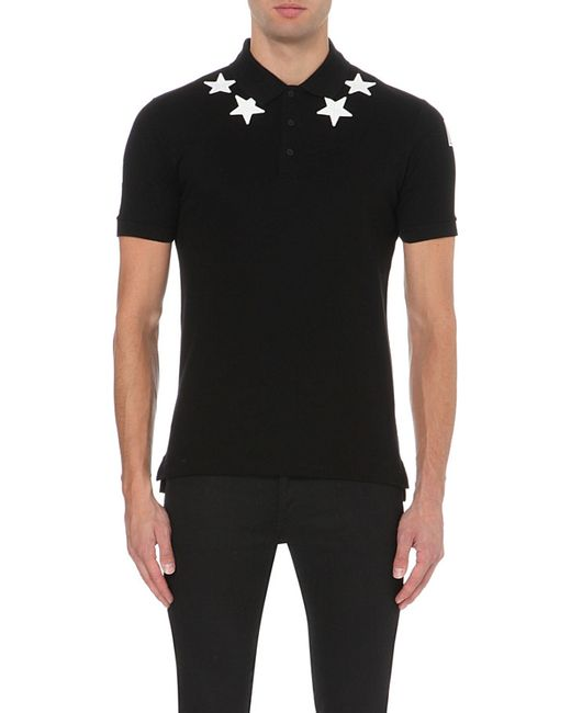 Givenchy | Black Star-appliqués Cotton-piqué Polo Shirt for Men | Lyst
