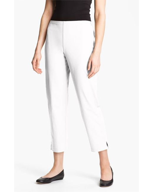 Eileen Fisher   White Organic Stretch Cotton Twill Ankle Pants   Lyst