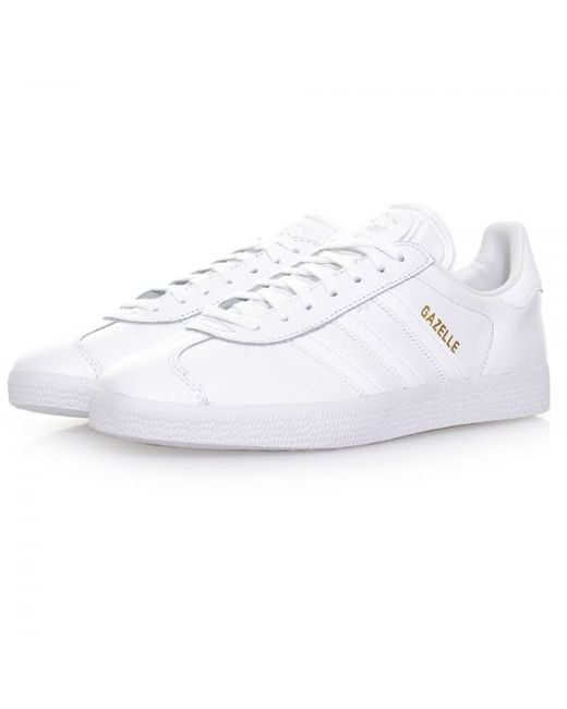 Adidas Originals Gazelle White Leather Shoes Bb5498 In