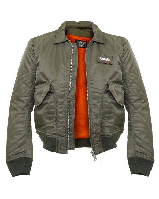 schott nyc schott cwu r khaki bomber flight jacket 210100 in natural for men lyst. Black Bedroom Furniture Sets. Home Design Ideas