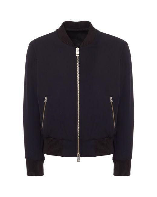 AMI - Blue Zipped Bomber Jacket for Men - Lyst