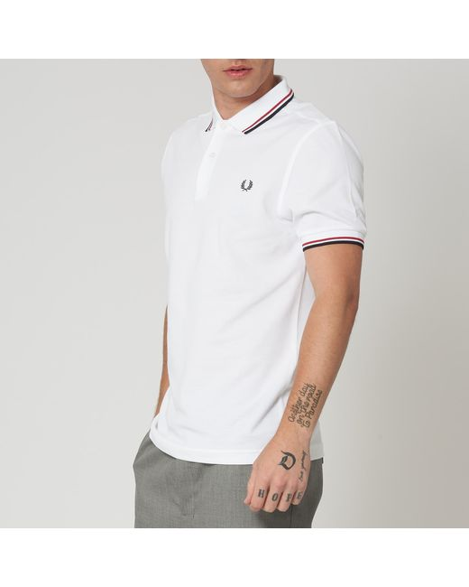 5c01b8242 ... Fred Perry Authentic - M3600 Twin Tipped Polo Shirt - White for Men -  Lyst ...