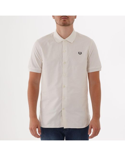 b9a4fa5aa Fred Perry Authentic - White Fred Perry Short Sleeve Classic Oxford Shirt  for Men - Lyst ...