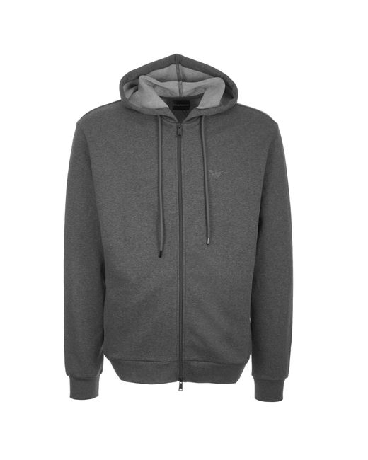 23ab438e999 Emporio Armani - Gray Zip Up Hoodie for Men - Lyst ...