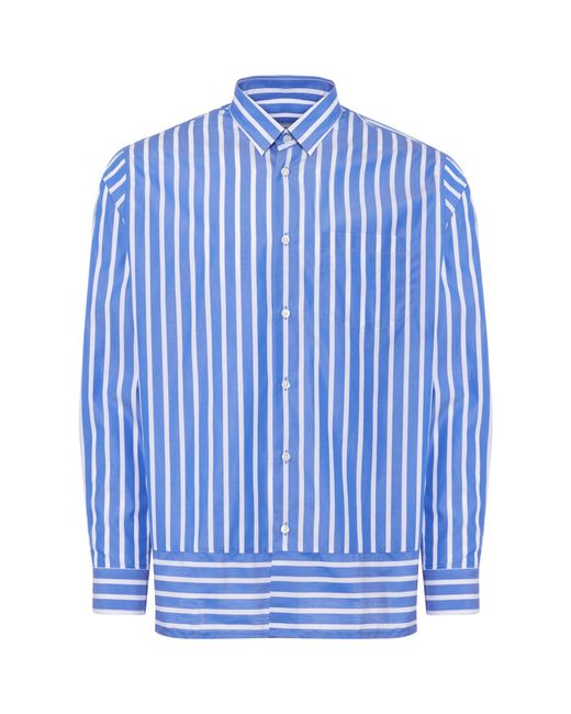 AMI - Blue & White Summer Fit Shirt for Men - Lyst