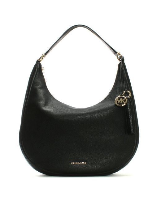 Michael Kors | Lydia Large Black Tumbled Leather Hobo Bag | Lyst
