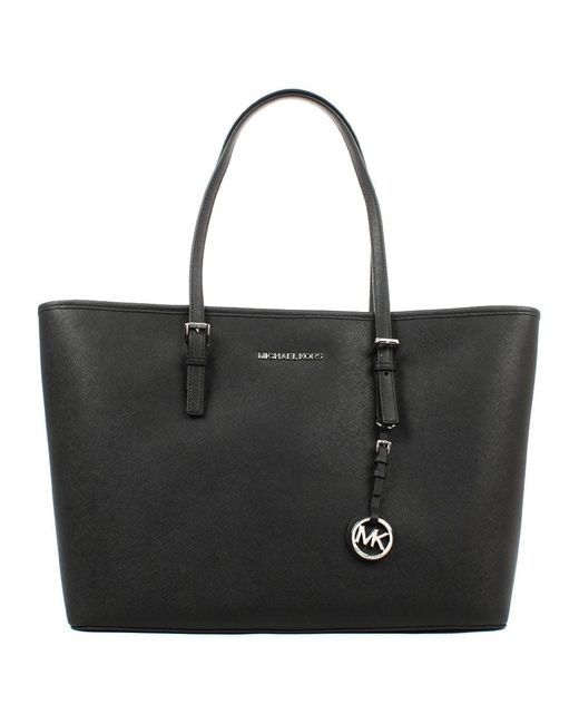 Michael Kors - Jet Set Multifunctional Black Leather Top Zip Tote - Lyst