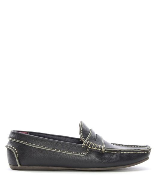 Gucinari - Blue Navy Leather Contrast Trim Loafers for Men - Lyst