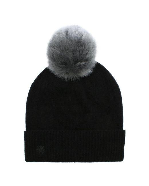 Ugg | Luxe Cuff Black Pom Pom Hat | Lyst