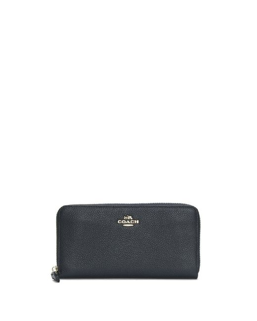 COACH - Blue Accordion Navy Pebbled Leather Zip Around Wallet - Lyst
