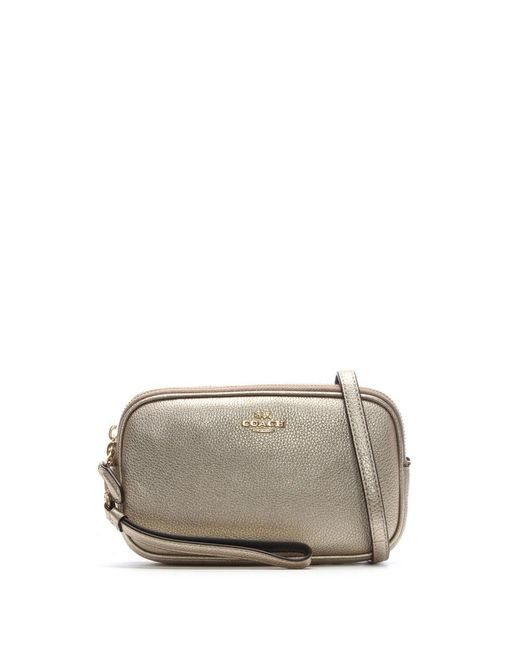 COACH - Metallic Polished Platinum Pebbled Leather Cross-Body Clutch Bag - Lyst
